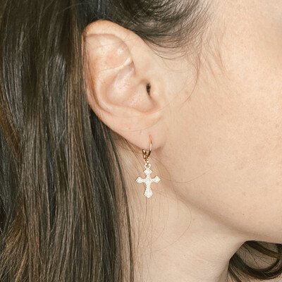 Mini Gold Cross Ear Huggie