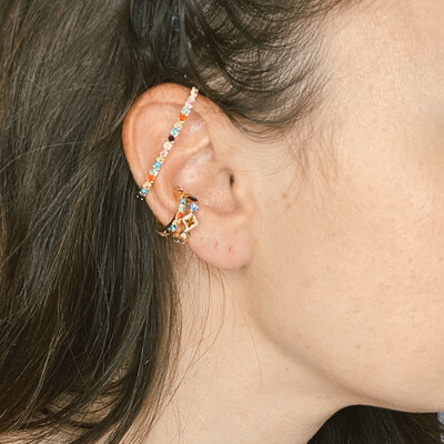 Rainbow Crystal Ear Cuffs