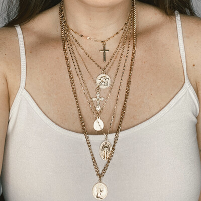Six Layer Gold Chain Necklace