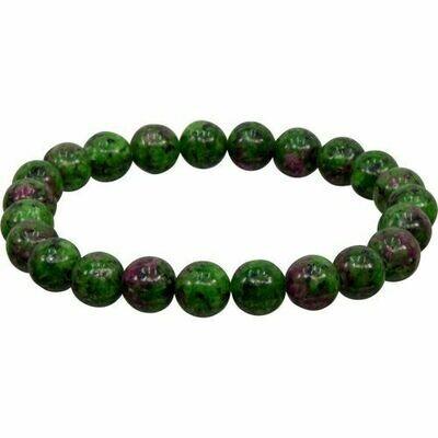 Ruby Zoicite Stone Bead Bracelet