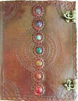 Chakra Leather journal 10x13