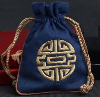Linen Mala Bag Navy
