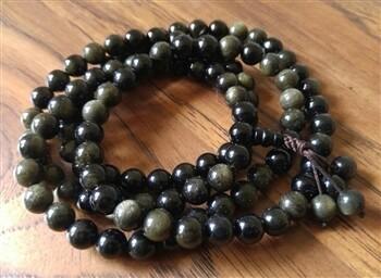 Gold Sheen obsidian mala