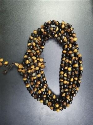 Tiger's Eye & Gold Sheen Obsidian mala