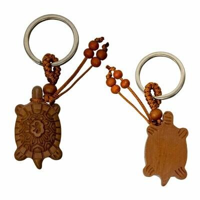 Good Luck Turtle Wood Key Chain