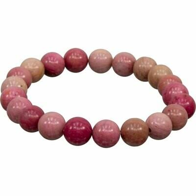 Rhodonite Stone Bead Bracelet