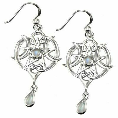Heart Pentacle Earring w moonstone (MM) 2898