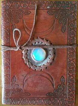 Triple Moon leather journal w/ stone