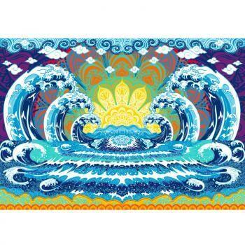 3D Wave Mandala Tapestry