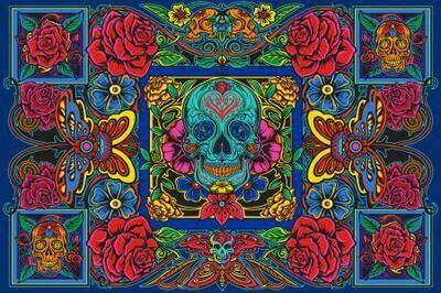 Skulls n Roses tapestry