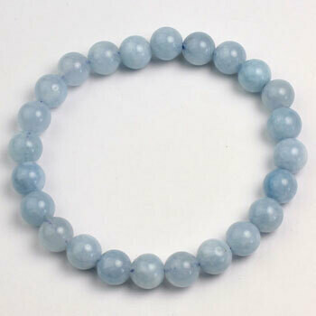 Aquamarine 8 mm stone bead bracelet