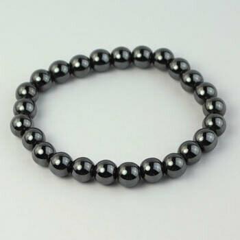 Hematite 8 mm stone bead bracelet