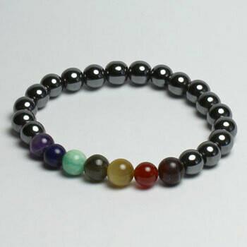 Hematite chakra 8 mm stone bead bracelet