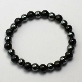 Black Tourmaline/Hematite 8 mm stone bead bracelet