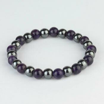 Amethyst/Hematite 8 mm stone bead bracelet