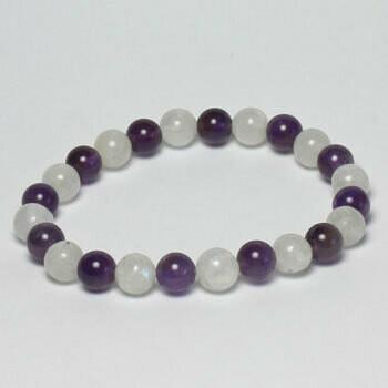 Rainbow Moonstone/Amethyst 8 mm stone bead bracelet