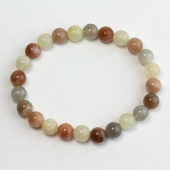 Multishade Moonstone stone bead bracelet