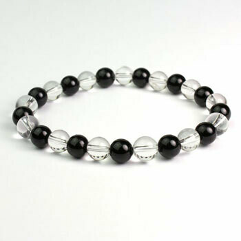 Quartz/Black Tourmaline 10mm stone bead bracelet