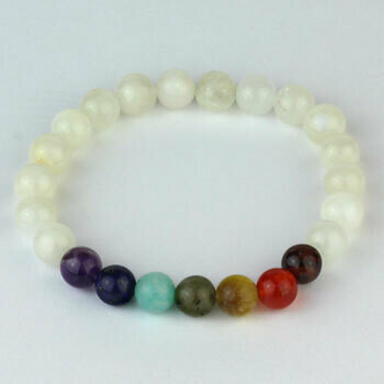 Rainbow Moonstone 8 mm chakra stone bead bracelet