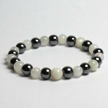 Moonstone/Hematite stone bead bracelet