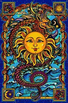 Dragon Sun 3D tapestry