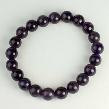 Amethyst 10 mm stone bead bracelet