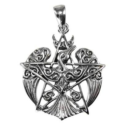 Crescent Raven Pentacle Pendant