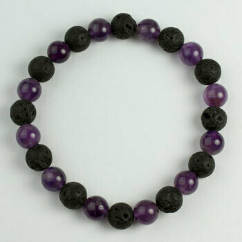 Amethyst/Lava 8 mm stone bead bracelet