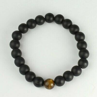 Matte Onyx w/ tiger eye 8 mm stone bead bracelet