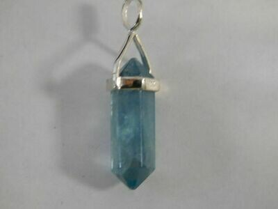 Blue Fluorite Crystal Point Pendant short style
