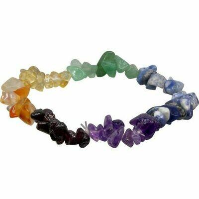Chakra stone chips bracelet