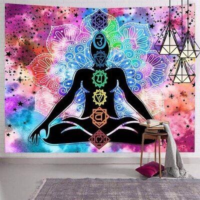 Hexagram 7 chakra tapestry 51x59