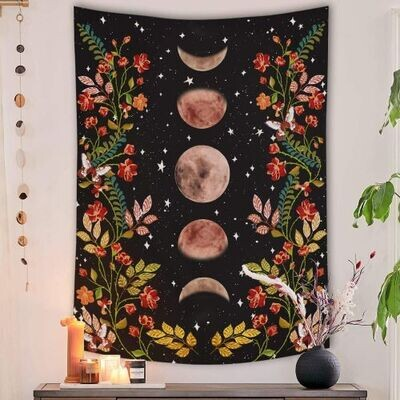 Moon Phase Garden Tapestry 36