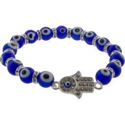 Evil Eye Bracelet Cobalt Blue w/ Fatima Hand Charm
