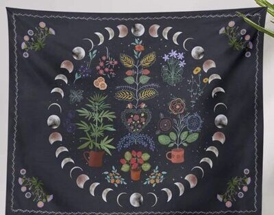 Botanical Moon Phase Tapestry 52x59