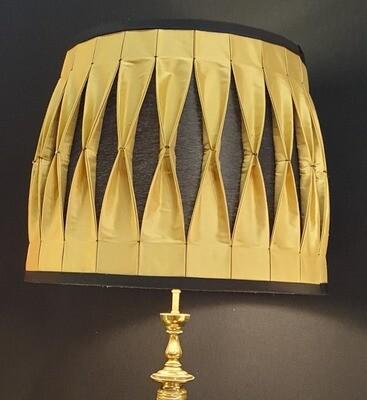 Lampe plissé bicolore smocké or et noir