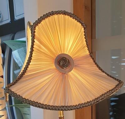 Lampe froncé soleil soie pied bronze
