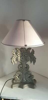 Lampe abat-jour conique coton gris Bélinac avec pied en bois