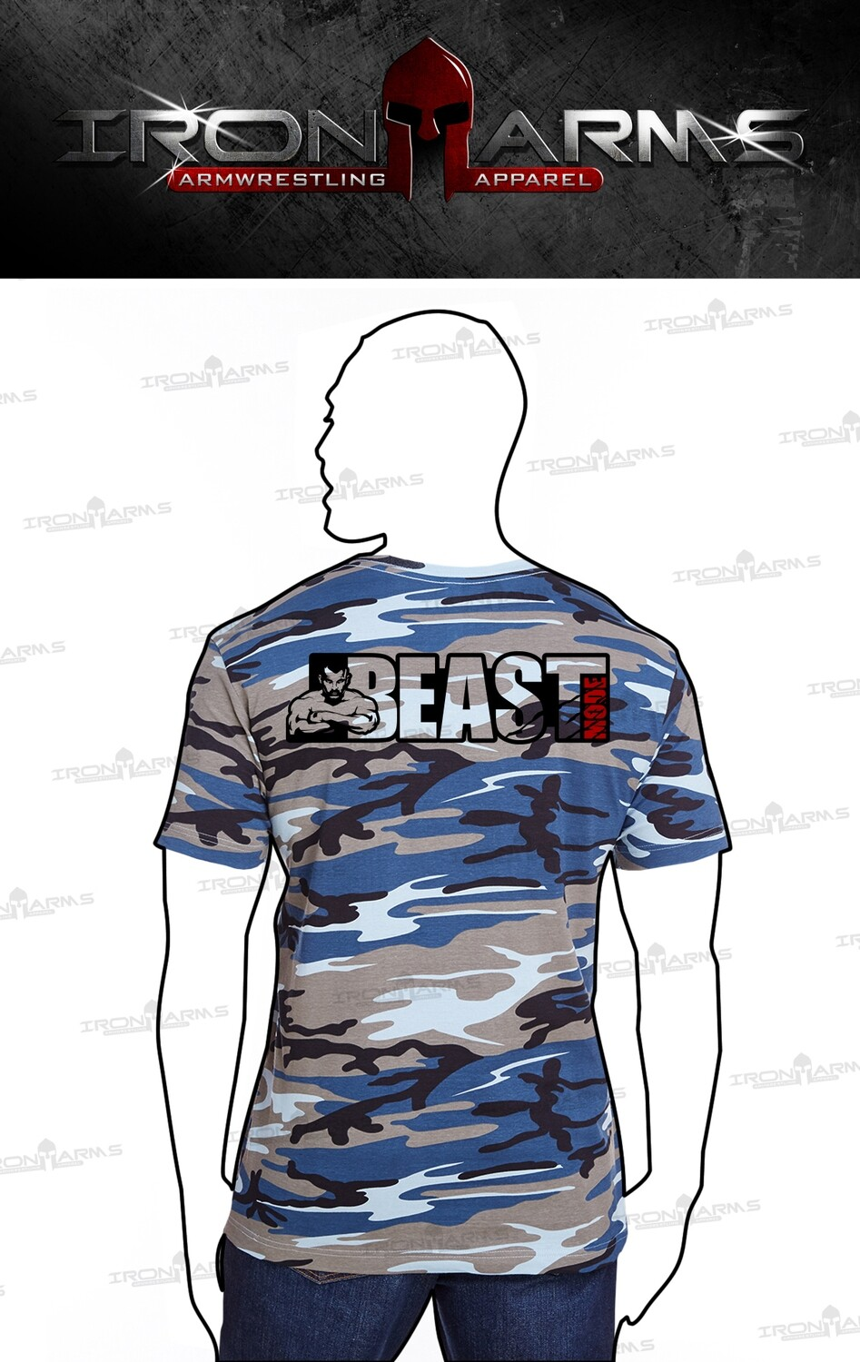 Travis Bagent - Beast Mode Blue Woodland Camo T-Shirt