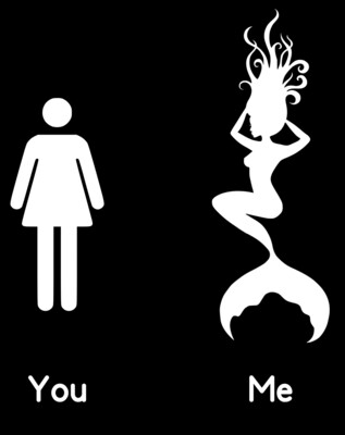 You/Me Mermaid Stencil Lady's Muscle Shirt