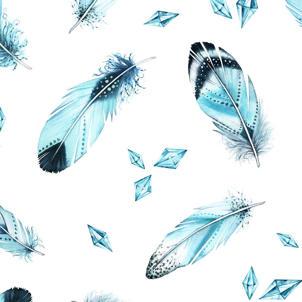Blue Boho Feathers