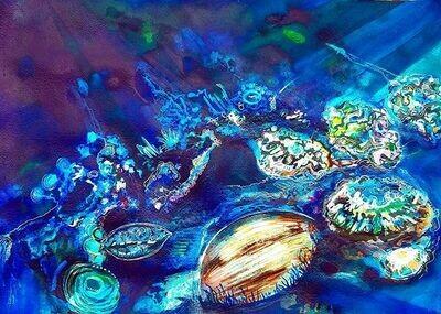 Broody Dark Coral Painting
