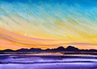 Jura Sunset with new moon