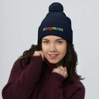 #boymom multi-color - Pom-Pom Beanie