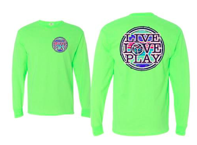Live Love Play  L/S Green