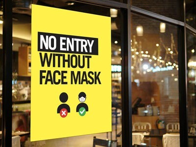 Pre-Printed Window Cling - No Entry Without Face Mask
