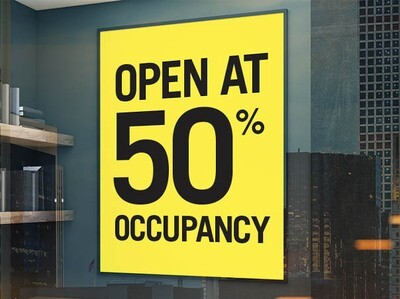 Pre-Printed Window Cling - Open at 50% Occupancy