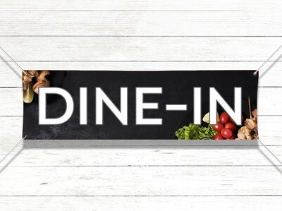 Pre-Printed Banner - Dine-In Now Open (with image)