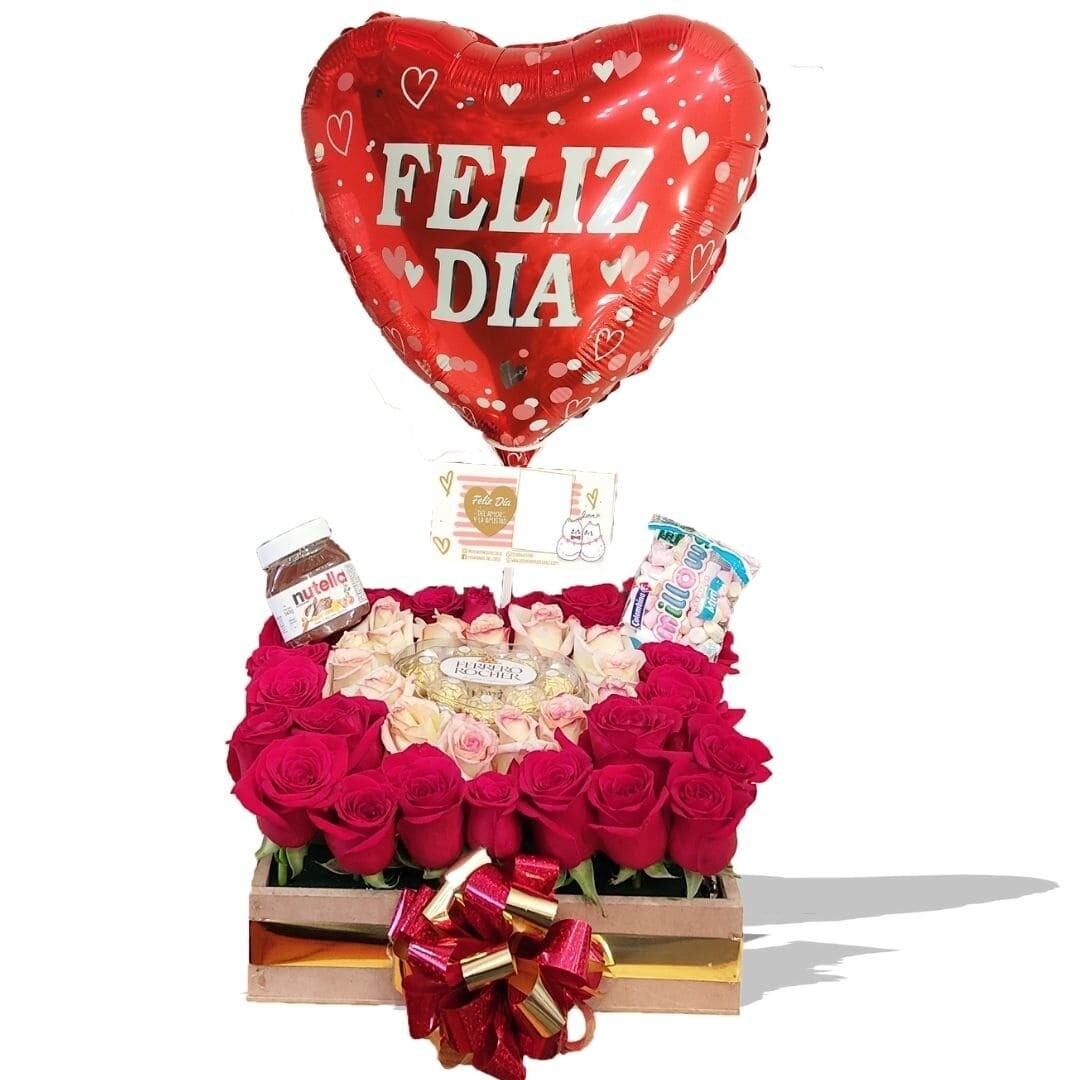 Caja  corazón de Rosas l Flores Sorpresa