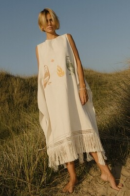 Reversible Embroidered Poncho Dress